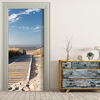 t rtapete selbstklebend t rposter steg zum meer fototapete t rfolie poster tapete strand. Black Bedroom Furniture Sets. Home Design Ideas