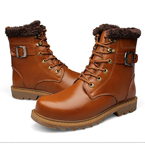 ZQ@QXIn autunno e in inverno, europei e americani più di moda cashmere caldi Stivali Stivali Stivali in pelle uomo stivali di Martin Light brown plus cotton