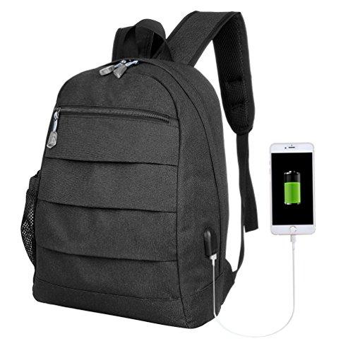 Vbiger Oxford Schultern Tasche Multifunktionale Rucksack Schick Reise Tagesrucksack USB Ladefunktion Schwarz