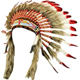 Fair trade Indian chief headdress with red feathers and black spots