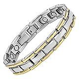 Jeracol Magnetarmband Damen Gesundheit Titan Magnetfeldtherapie Armbänder für Arthritis Schmerzlinderung, Gold Silber