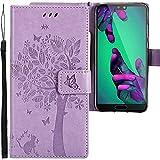 CLM-Tech Huawei P20 Hülle, Tasche aus Kunstleder, Baum Katze Schmetterlinge lila, PU Leder-Tasche für Huawei P20 Lederhülle