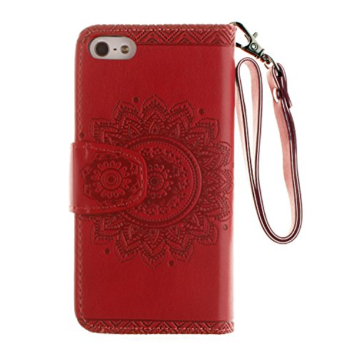 iPhone SE Hülle,iPhone 5S Tasche,iPhone 5 Case - Felfy Flip Mappen Luxe Bookstyle Case Kasten 3D Reliefprägung Stilvolle Kreative Mode Nette Katze & Baum Design Muster Premium Tasche Geldbeutel Folio  Kreismuster Rote