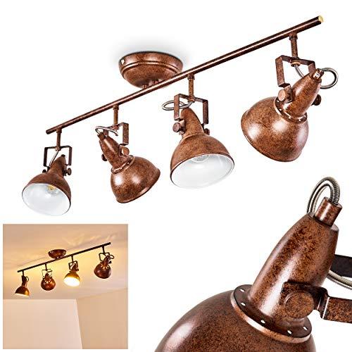 Deckenleuchte Tina, Deckenlampe aus Metall in Rostbraun/Weiß, 4-flammig, mit verstellbaren Strahlern, 4 x E14-Fassung max. 40 Watt, Spot im Retro/Vintage Design, für LED Leuchtmittel geeignet