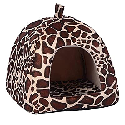CARBE kennelWarm Soft Dog Bed For Small Medium Dogs Leopard Foldable Cave Puppy Dog Bed Kennel House Pet Products by CARBE