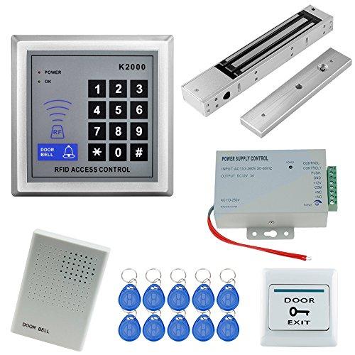 HFeng Sistema de control de acceso a la puerta Kit lector de tarjetas RFID con bloqueo magnético electromagnético 280KG + fuente de alimentación DC12V/3A + timbre de puerta 500 usuarios