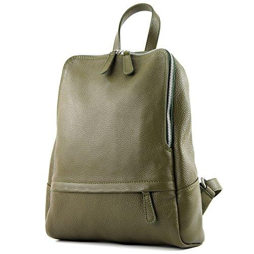 modamoda de - ital Damen Rucksacktasche aus Leder T138, Präzise Farbe:Olivgrün