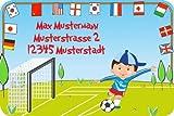 Namensetiketten Adressaufkleber Schuletiketten für Kinder Set mit Wunschtext Motiv Fußball