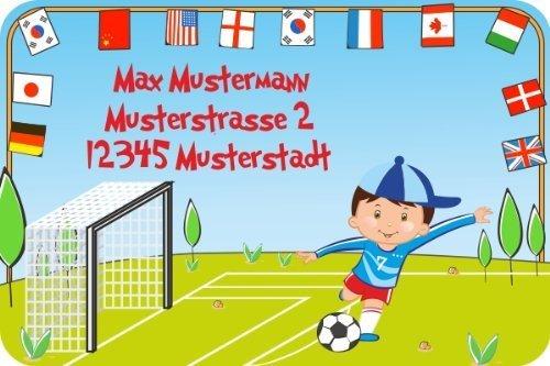 Namensetiketten Adressaufkleber Schuletiketten für Kinder Set mit Wunschtext Motiv Fußball (31-teilig)