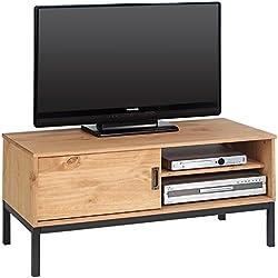 IDIMEX Meuble TV Selma Banc télé de 98 cm au Style Industriel Design Vintage avec 1 Porte coulissante et 1 Compartiment Ouvert, en pin Massif teinté Brun Clair