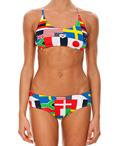 Arena W Flags Two Pieces Costume da Bagno, Donna, Nero/Multicolore, 40 FR (44 IT)