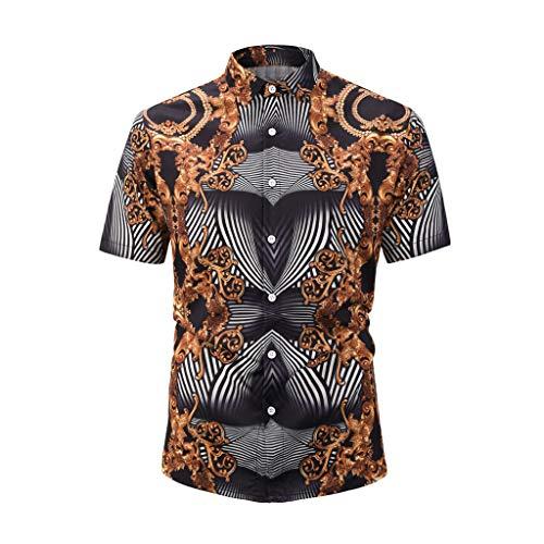 REALIKE Herren T-Shirt Kurzarmshirt Blumendruck Knopfleiste & Hemdkragen Unterhemden Tops Farbe Muskelshirt Fitness Oberteile Basic für Männer bis Größe M-2XL