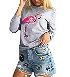 Damen Sweatshirt Elegante Langarm Rundhals Locker Flamingo Print Muster Basic Casual Cute Chic Fashion Herbst Winter Women Sweatshirts Langarmshirt Pullover Pulli Oberteile Tops
