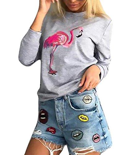 Sweatshirt Damen Elegante Langarm Rundhals Locker Flamingo Print Muster Perfect Pin-up Basic Casual Fashion Herbst Winter Women Sweatshirts Langarmshirt Pullover Pulli Oberteile Tops Style