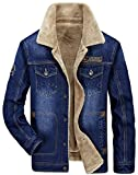 FGYYG Herren Klassische Denim Wear Jeansjacke mit Fell Dicke Jacke Mantel Parka winterjacke Plus Velvet Warm Men Cowboy Jacket Trenchcoat