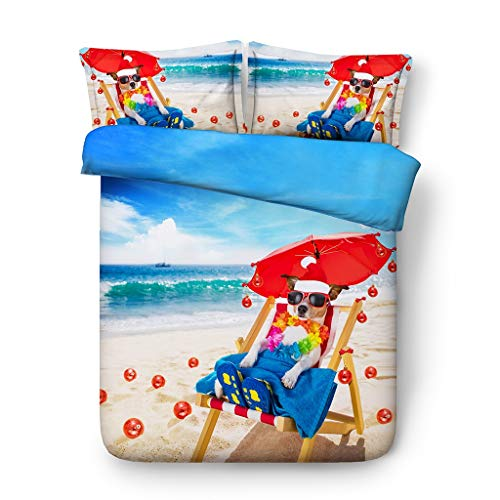 G'z 3D Weihnachten Bettwäsche-Sets für Mädchen Strand Bettbezug Hund Welpen Tagesdecken Regenschirm Kissen Shams (Ohne Tröster) (größe : Full/Queen) (Strand Set Full Tröster)
