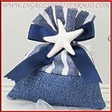 Bolsa puerta Confetti de tela azul a cintas blancas con laterales Vientos de raso para chiususra y tiza a forma de estrella marina Tema playa–Bomboniere boda, bautizo, comunión, confirmación, cumpleaños