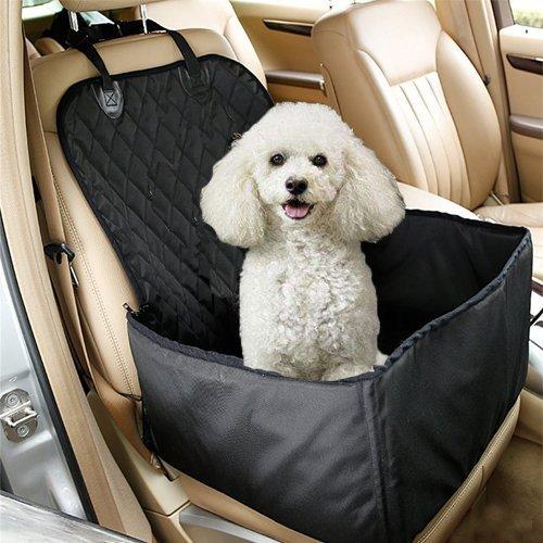 Ewolee Funda para Coche Perros - Protector de Asiento de Coche para Mascota Perro Gato Asiento Cubierto Caja de Transporte 2 en 1 Funda Impermeable y Resistente(Negro)