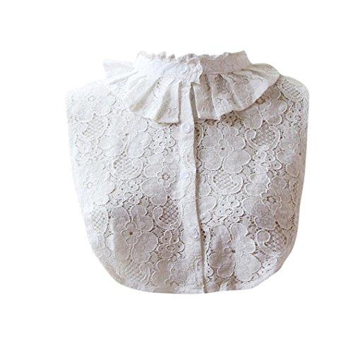 Damen Kragen Puppe Abnehmbare Kragen Shirt Bluse Spitze Floral False Kragen Kanpola (M, Weiß Z2) (Kleid Shirt Gestreiften Seide)