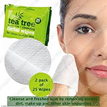 Árbol del Té uso diario limpieza facial maquillaje toallitas, pack de 2, Total 50