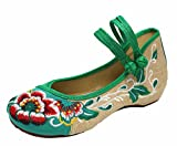 ICEGREY Women's Double Strap Embroidered Low Wedge Mary Jane Shoes
