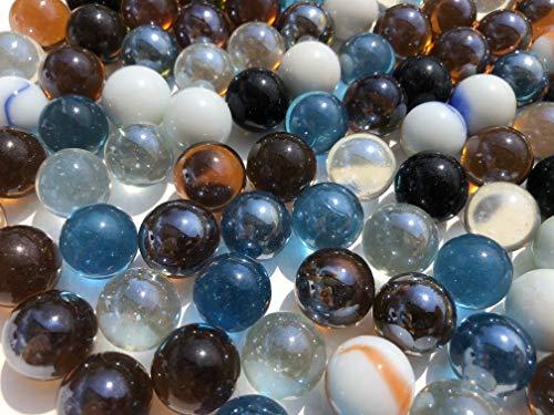 Imitación Paradise 100Unidades canicas Bolas de Cristal, marmota–Bolas 16mm Azul Blanco Negro durchsichtigglas Deko Cristal canicas de Bola de Cristal