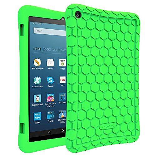 Fintie Hülle für Amazon Fire HD 8 Tablet (7. & 8. Generation - 2017 & 2018) - Leichte rutschfeste Stoßfeste Silikon Tasche Case Kinderfre&liche Schutzhülle, Grün