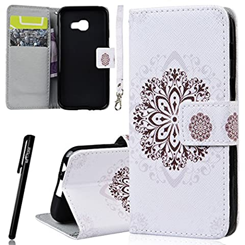 WE LOVE CASE Samsung A3 2017 Wallet Case , Premium Quqlity Leather Cover with Card Holder Kickstand and Magnetic Closure, Folio Flip Foldable Book Feature Protective Case for Samsung Galaxy A3 2017 - White Mandala