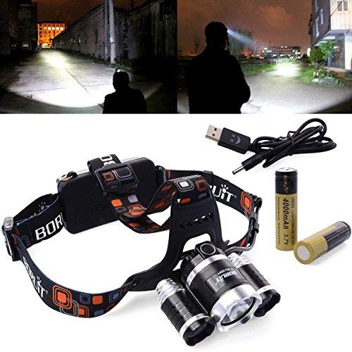 LED Stirnlampe 5000LM 3x CREE T6 Fahrad Front Motorrad Lampe Scheinwerfer Scheinwerfer Camping Hiking Licht + Akku18650 Wiederaufladbare Batterie + USB-Kabel VOSMEP LD2