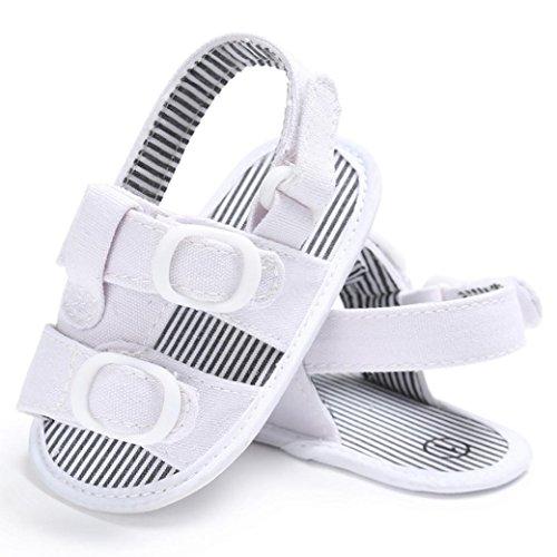 Igemy 1Paar Baby Kleinkind Canvas Boys Cute Crib T-gebundenen Soft Prewalker Soft Sole Anti-Rutsch Schuhe Sandalen Weiß