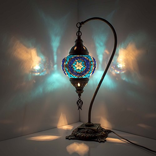 Mosaic Lamp - Turkish Mosaic Table & Desk Lamp,Stunning Moroccan Style, Unique Globe Lampshade, Swan Neck Series (turquaz star)