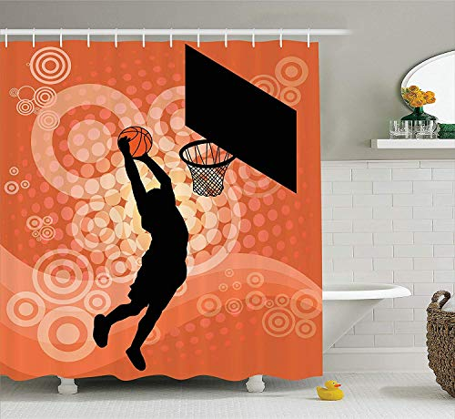 Presock Duschvorhänge, Basketball Shower Curtain, Basketball Player Silhouette Athlete Competition Championship, Fabric Bathroom Decor Set with Hooks, 60W X 72L Inches Long, Pale Orange Black