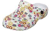 Brandsseller Damen Clogs Druckdesings Hausschuh Schuhe Pantolette mit Rutschfester Sohle Blumen-Bunt/Weiss 40