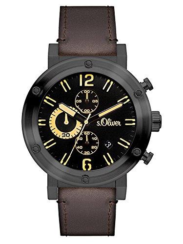 s.Oliver Herren-Armbanduhr Analog Quarz Leder SO-3096-LC