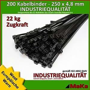 200 Stk Kabelbinder schwarz 250 x 4,8 mm EUROPAWARE-/ INDUSTRIEQUALITÄT