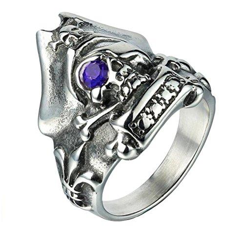 tahl Weinlese Cz Augenhelm Schädel Ring Blau Größe 62 (Halloween Skelette Zum Verkauf)