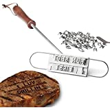 AMOS BBQ Barbecue Grill Branding Iron with 55 Changeable Letters Personalised Meat Steak Burger Barbeque Party Accessory Tool