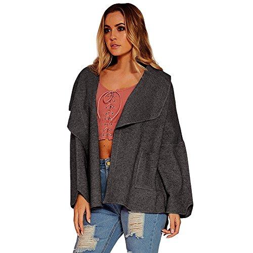 squarex _ Elegante Damen mit Fledermausärmeln Umlegekragen Coat Jacke Windbreaker,, Polyester, grau, S (Rock Aeropostale)