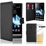 32nd® Funda carcasa de cuero sintético tipo libro billetera para Sony Xperia E1, incluye protector de pantalla, paño de limpieza y lápiz optico - Negro