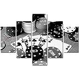 Reloj de pared de cinco elementos Tarjetas de juego de fichas de casino de póker Vintage blanco y negro