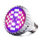 LONGKUO 30W 40LED Ampoule Lampe de Croissance Eclairage E27 pour Plant Avec 7 Longueur d'Onde AC 85-265V pour des Plantes ,des Fleurs et des Légumes Intérieur/de Serre/de Jardin