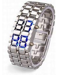 Supervisión plata Feichen reloj digital de pulsera de acero inoxidable con las señoras de las señoras azul luz LED de moda