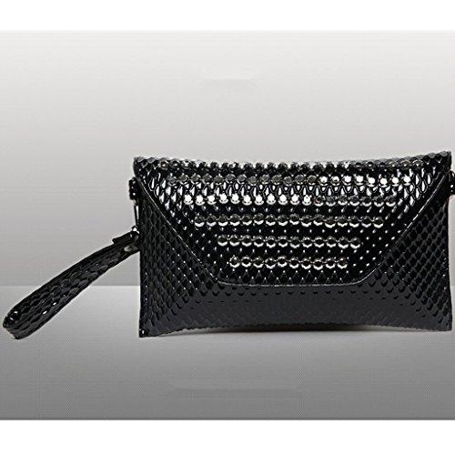 borsa frizione marea moda 2016 nuova borsa sacchetti del pranzo coreano rivetti diamante del polso di modo bag ( Colore : Embossed Blue ) Black Patent Leather