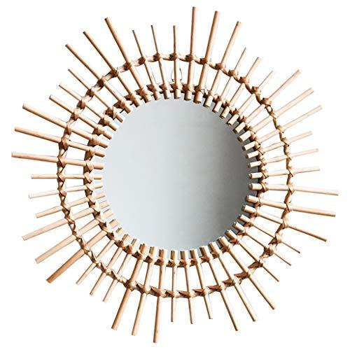 GYX- Deko Runde dekorative Spiegel aus Rattan, dekorativer hängender Kosmetikspiegel für Schlafzimmer, Badezimmer und Wohnzimmer, Größe 27x54cm