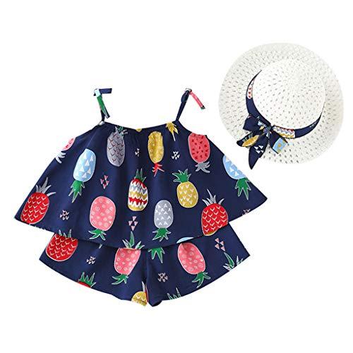 SUNFANY Schöne Kleider für Mädchen Sommer Ärmellos Fruchtdruck Top + Shorts Festliches Kostüm Kleiden Prinzessin + Strohhut Gr. 18M-5Y(Marine,5/6-12 (Kleine Schwester Kostüm Muster)