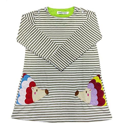 Rebavl Mädchen Baumwolle Langarm Kleider T-shirt Streifen Tiere Mustern Crewneck Lose Oben Größe (Für Kleid Tier Kinder)