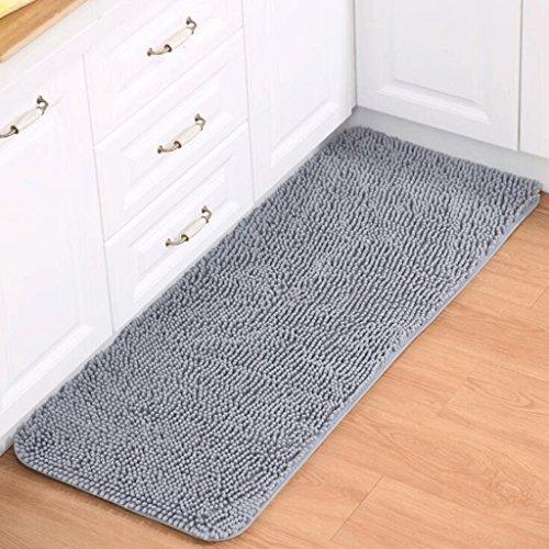 YYF tapis Gris Salle de bain Tapis de cuisine Salle de séjour Chambre Table basse Tapis Chenille Mats (taille : 60 * 90cm)