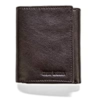 steve madden Men's Leather Trifold Wallet with RFID Blocking Technology, Brown (Smooth Grain), One Size