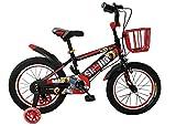Kinderfahrrad Stahlrahmen mit Stützrädern und Korb 16Zoll Spielrad BMX für Jungen und Mädchen Rot Schwarz mit Vorderrad- und Hinterradbremse