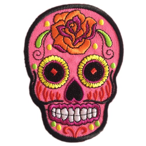Ibestbuysell Sunny Buick Sugar Skull Tag der Toten Tattoo Rock Punk Iron on Patches Bestickt Pink (Toten-tattoos Tag Der)